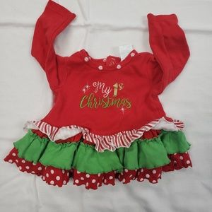 Nursery Rhyme Cotton 1st Christmas Ruffled Top 9m